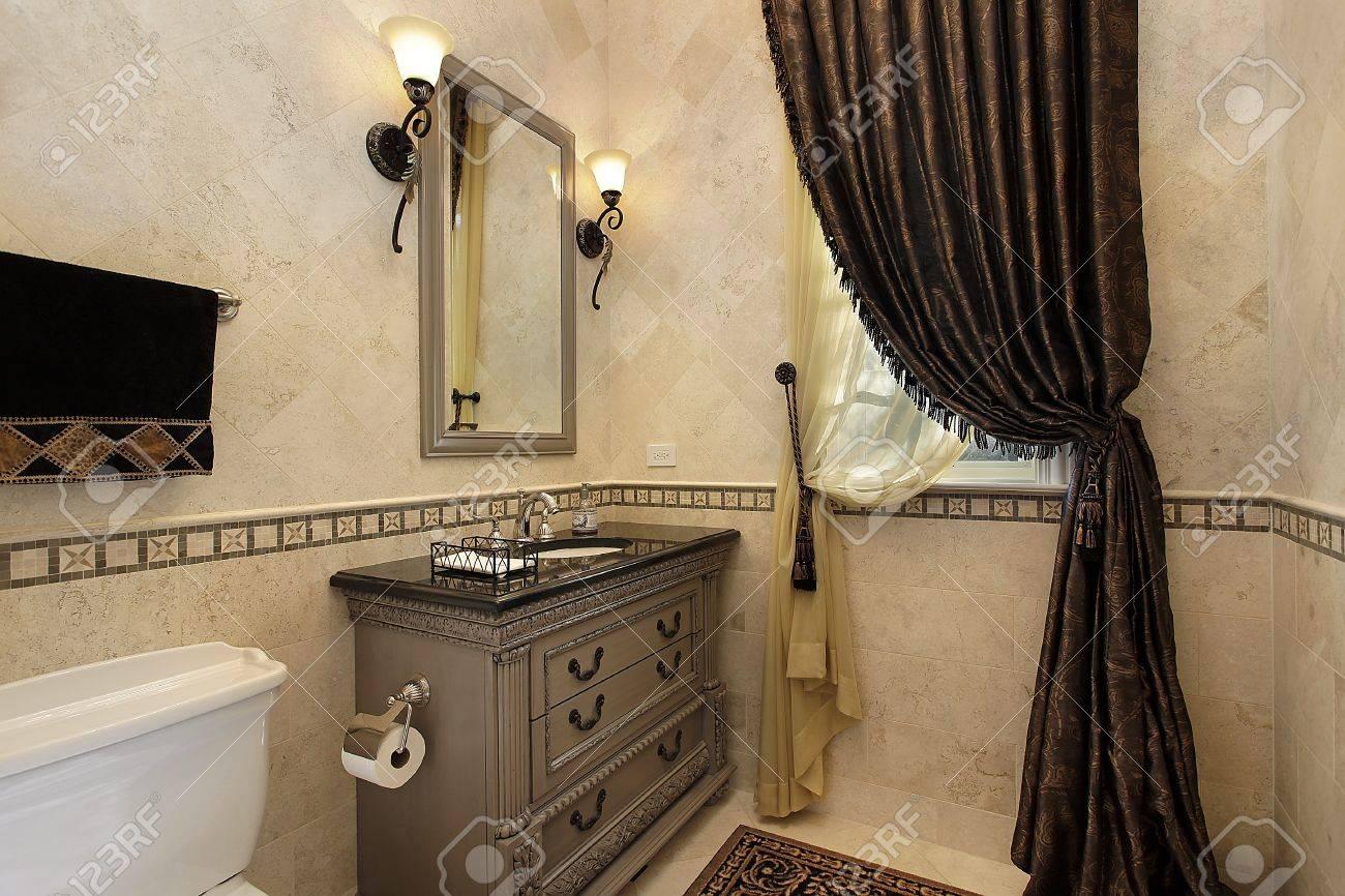 Powder Room In Luxury Home With Elegant Draperies Stock Photo