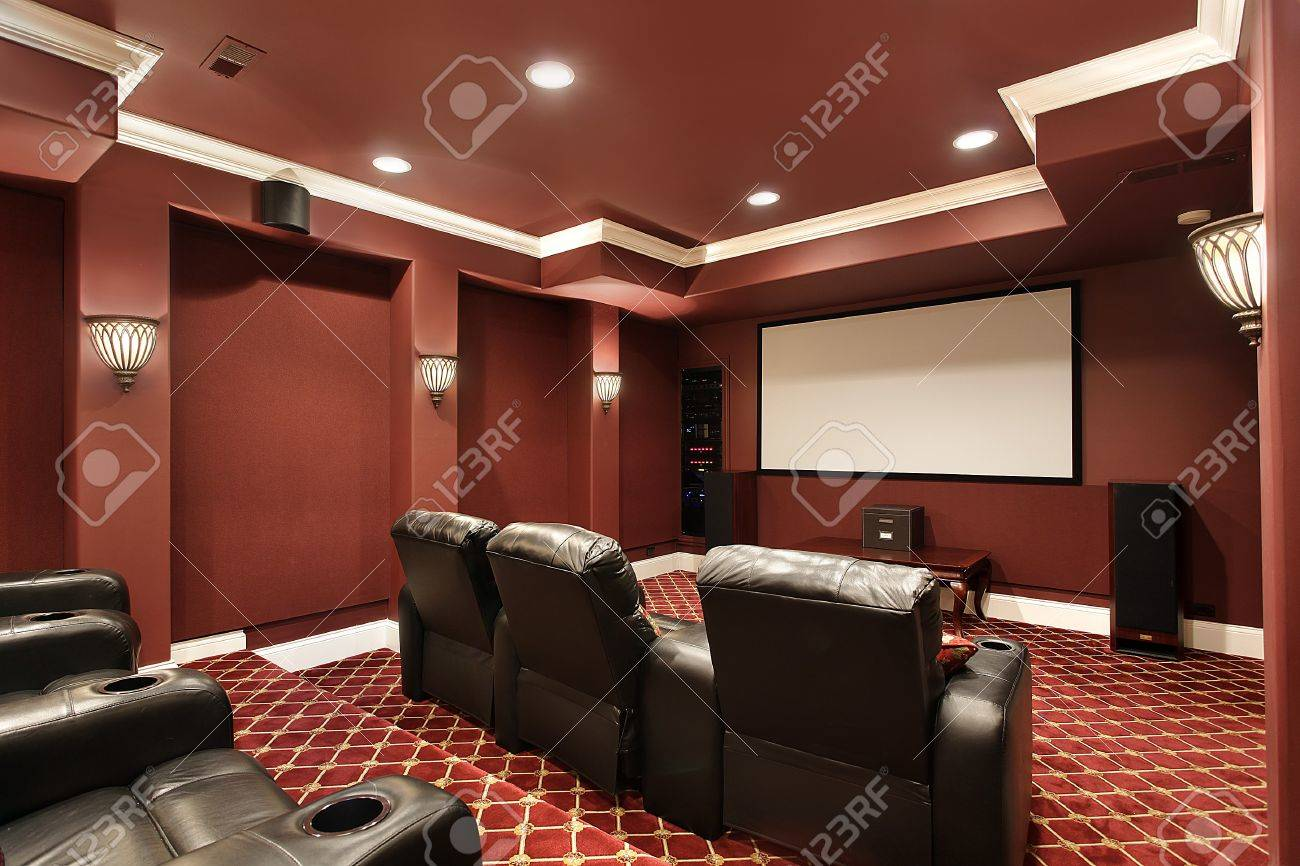 Theater room in luxury home with stadium seating Stock Photo - 7750876