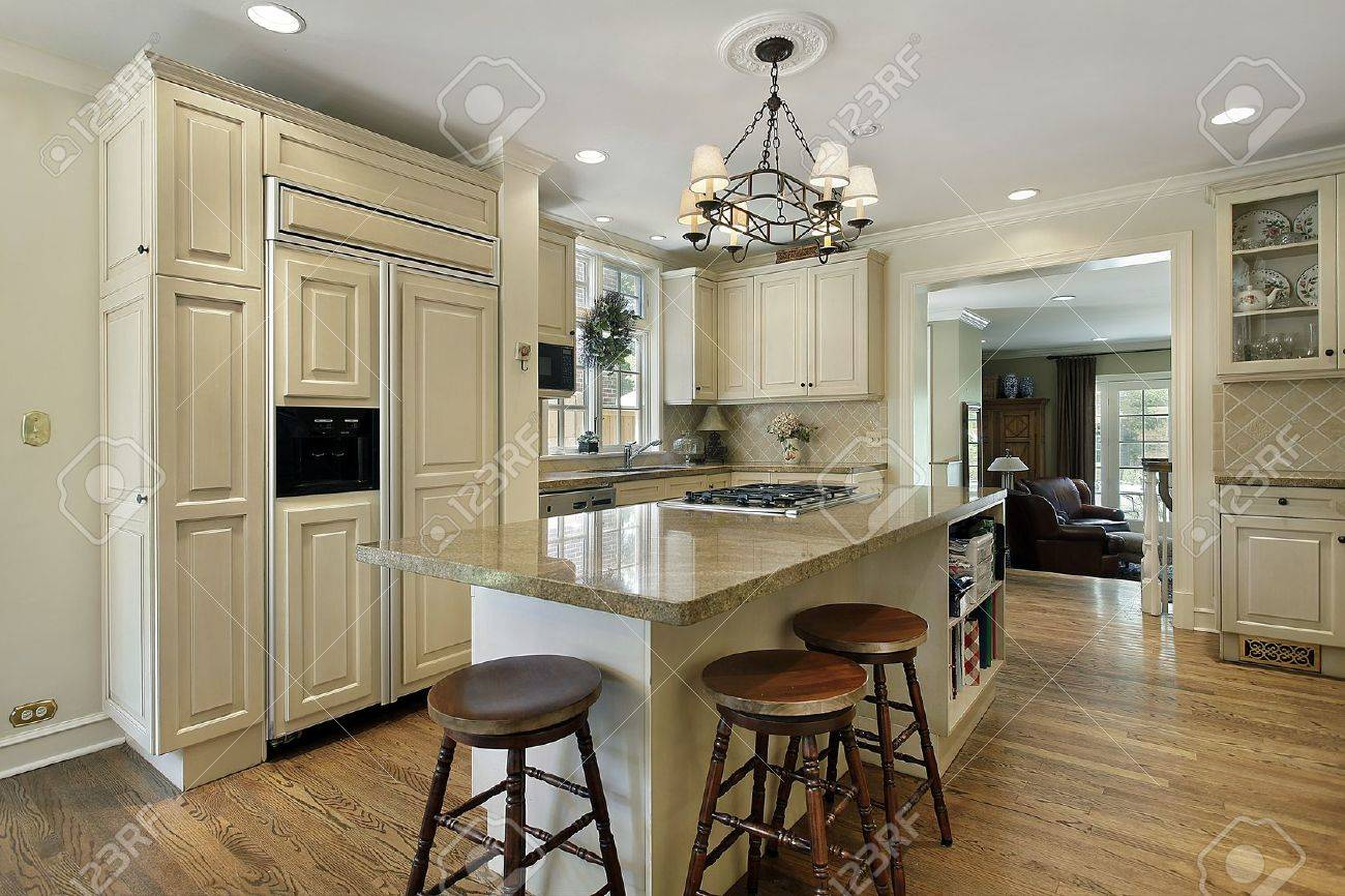 Kitchen in luxury home with large center island Stock Photo - 7809810