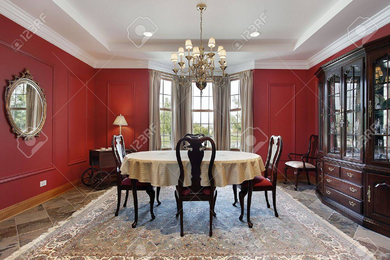 Dining Room In Luxury Home With Red Walls Stock Photo   10293038 Part 34