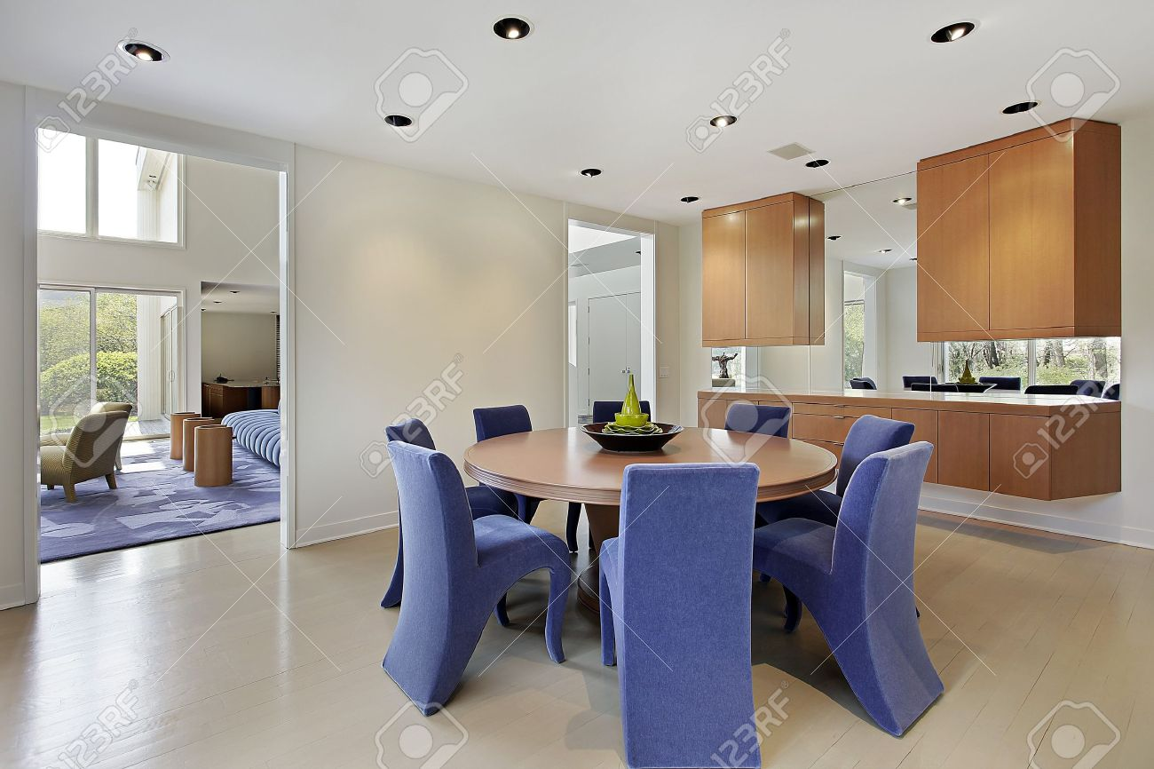 Dining Room In Luxury Home With Lavender Colored Chairs Stock ...