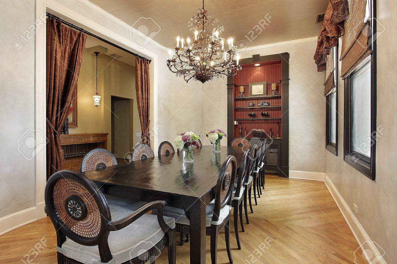 Dining room in luxury home with built in cabinet Stock Photo - 10293003