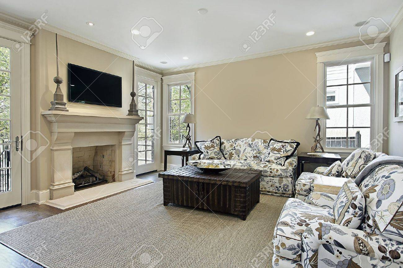 family room in luxury home with fireplace stock photo picture and