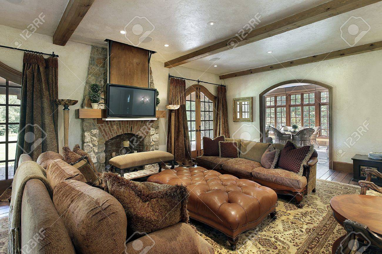 Family room in luxury home with fireplace Stock Photo - 10293098