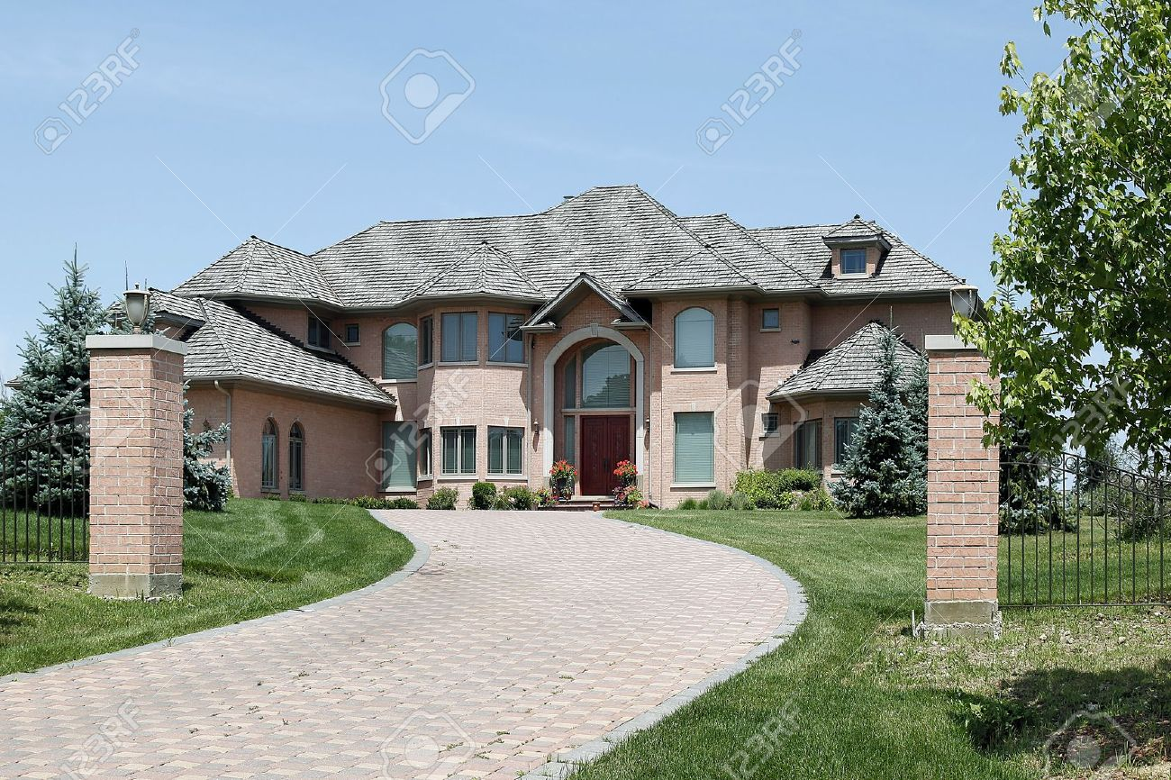 Luxury Homes Exterior Brick brick driveway stock photos & pictures. royalty free brick