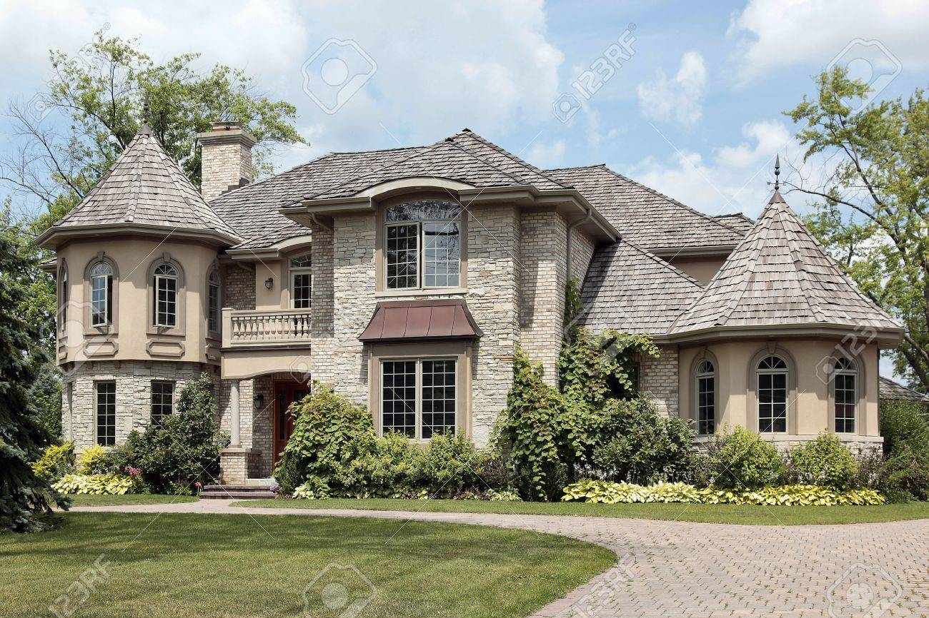 Luxury homes exterior - Luxury Home Exterior Luxury Stone Home With Turret And Cedar Shake Roof