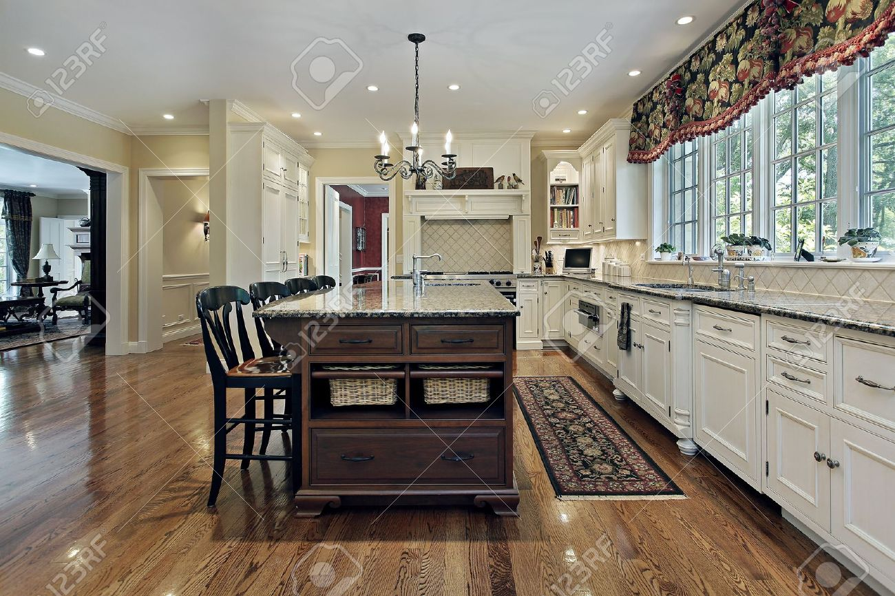 Large kitchen in luxury home with white cabinetry Stock Photo - 8793015
