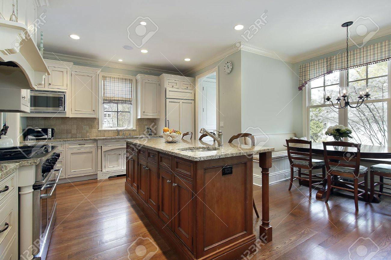 Kitchen Island Eating Area kitchen with center island and eating area stock photo, picture