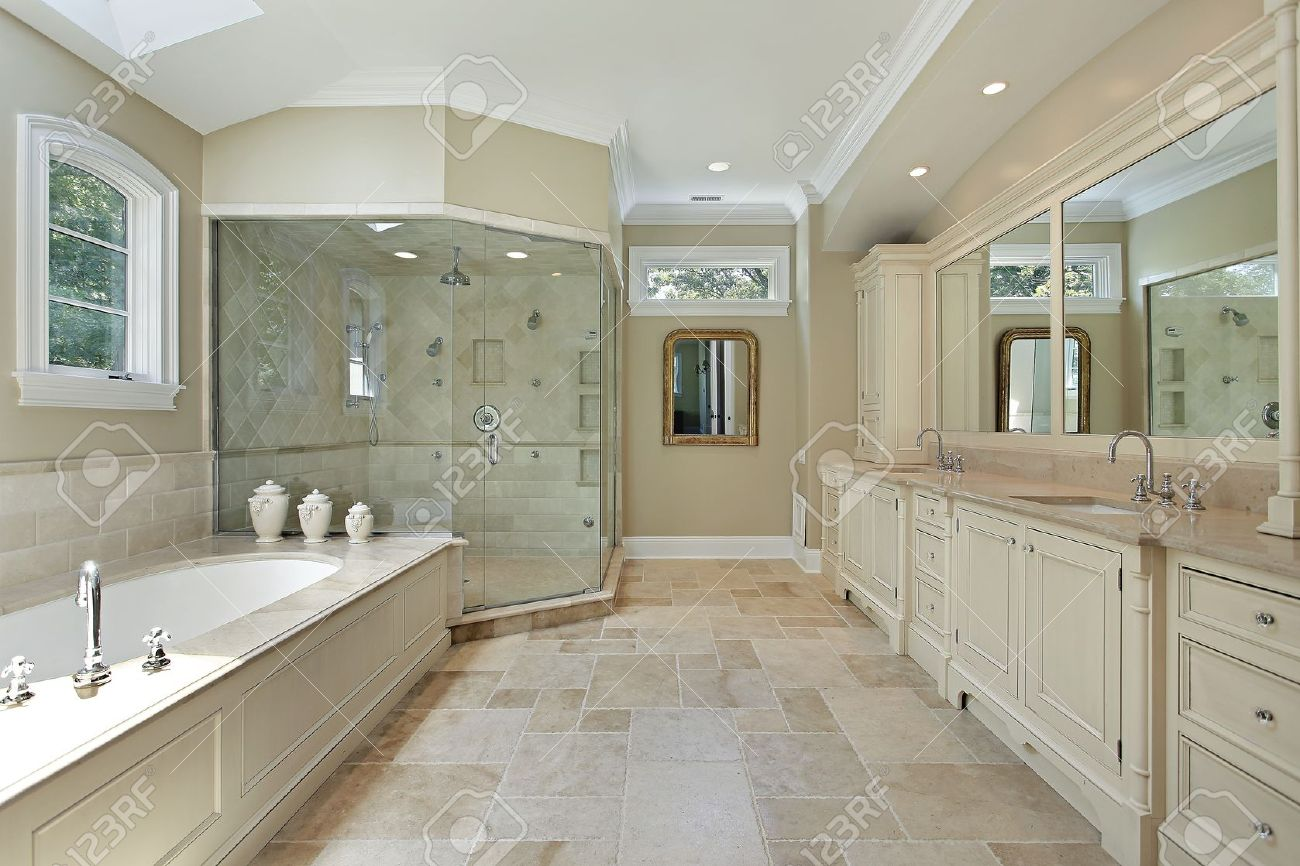 Beau Master Bath In Luxury Home With Large Glass Shower Stock Photo   8792932