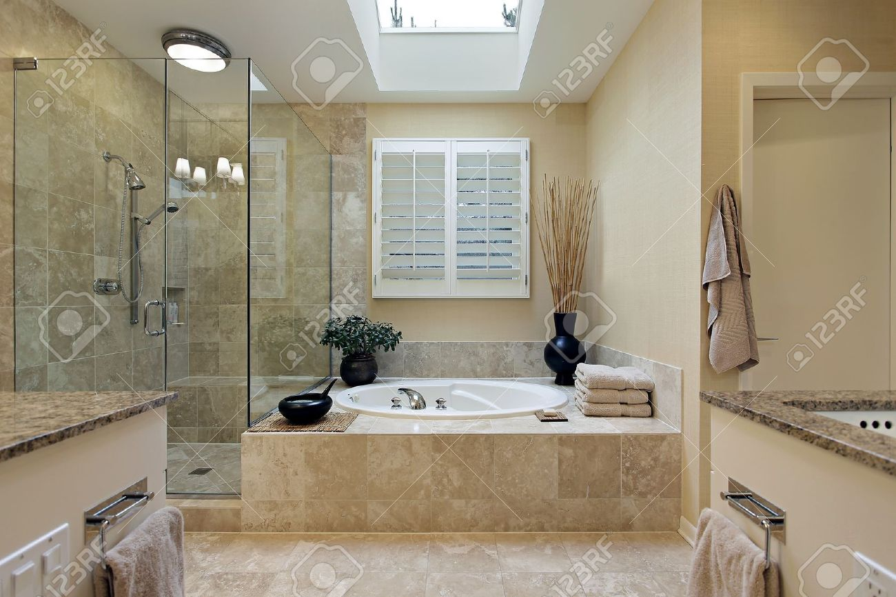 Luxury Master Bath With Skylight Over Bath Tub Stock Photo 8792942