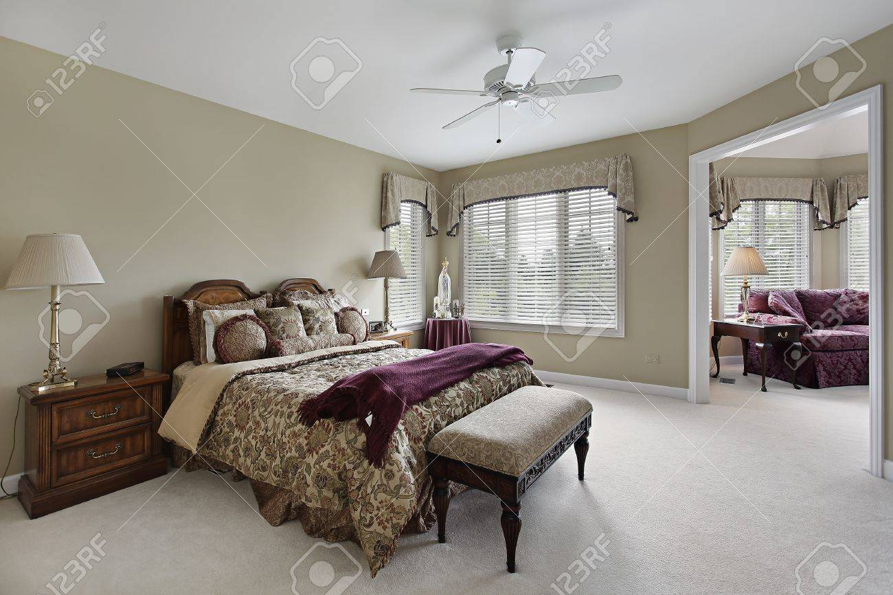 Master Bedroom In Luxury Home With Adjacent Sitting Room Stock Photo    8792966
