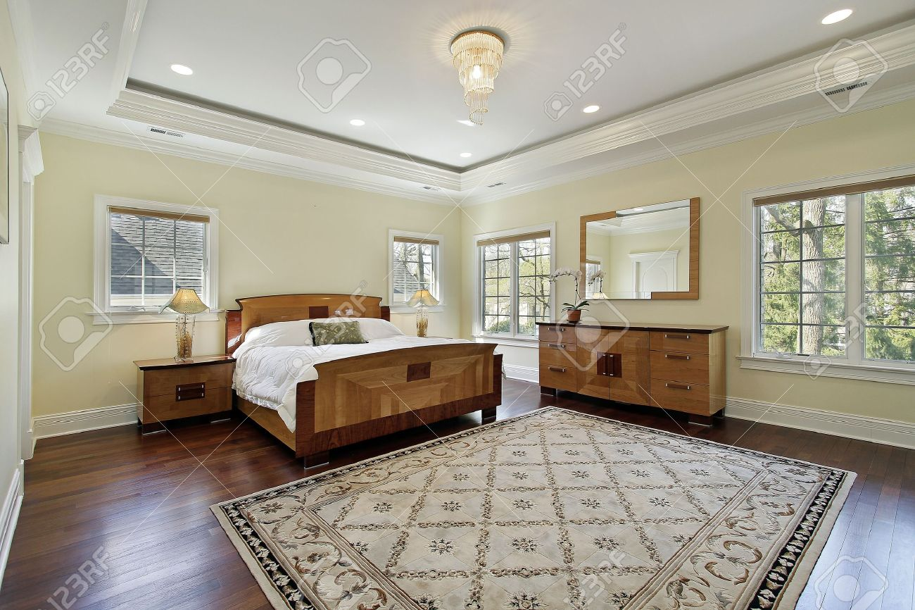 Master bedroom in luxury home with tray ceiling