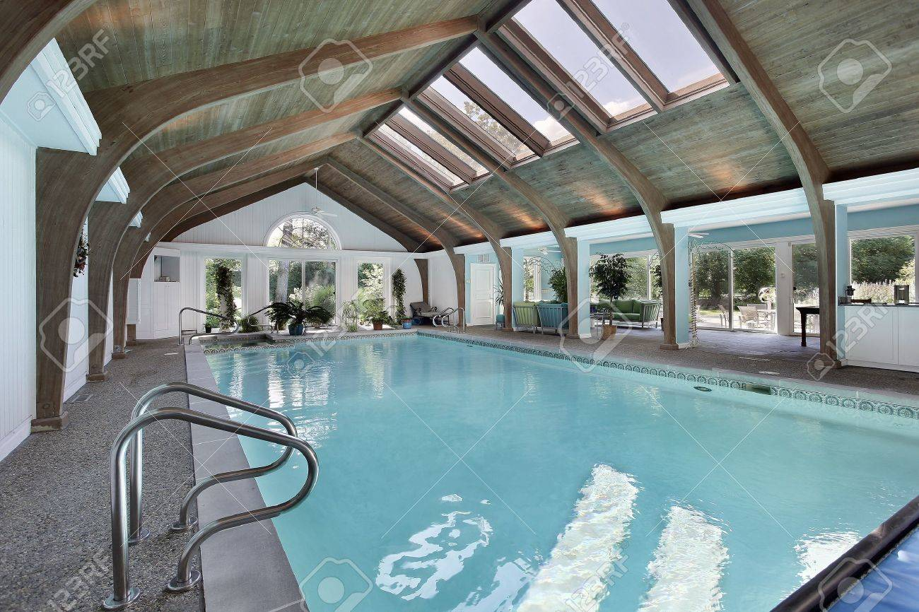 large indoor swimming pool with six skylights stock photo picture