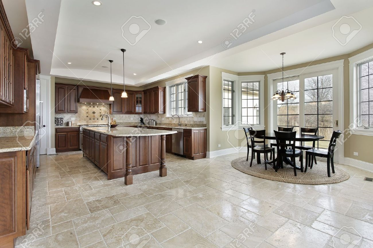 Large Kitchen In Luxury Home With Eating Area Stock Photo   10537580
