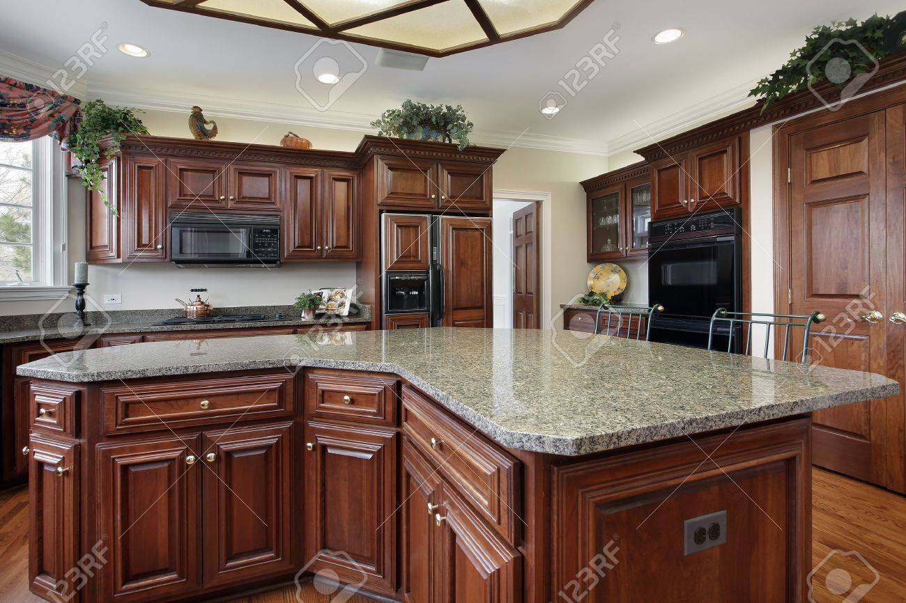 Center Island Kitchen Kitchen In Luxury Home With Large Center Island Stock Photo