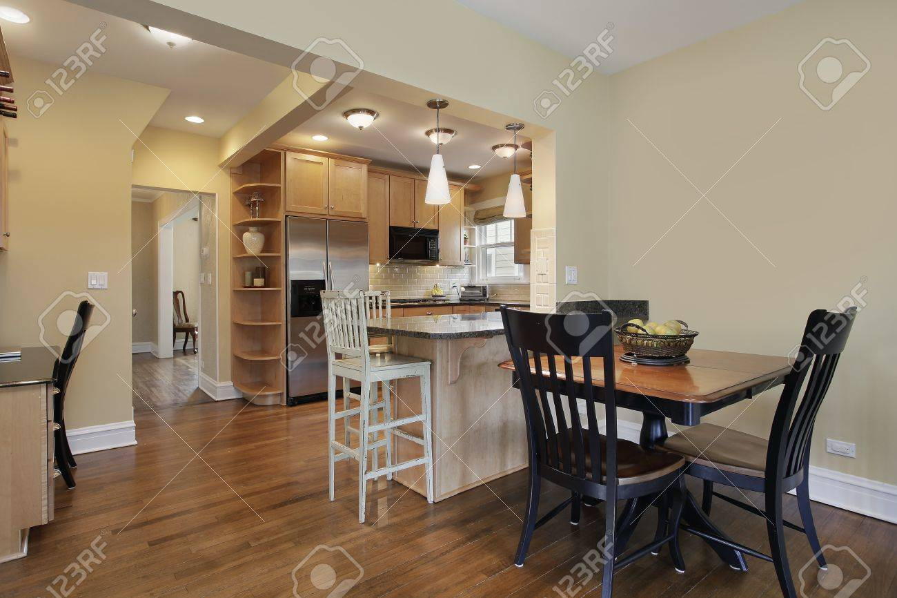 Kitchen in modern home with eating area Stock Photo - 14976181