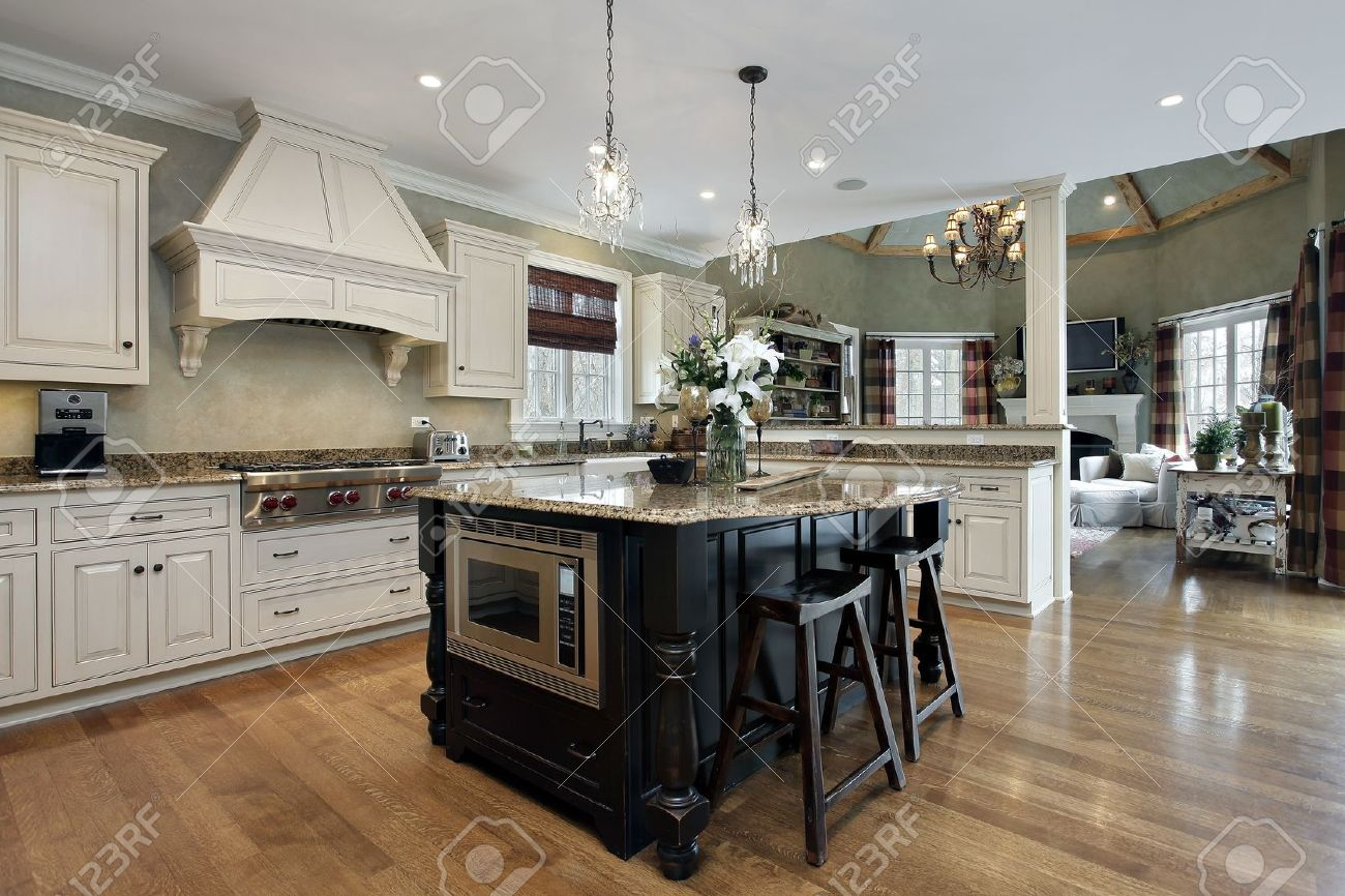 Upscale Kitchen Appliances Kitchen In Luxury Home With White Cabinetry Stock Photo Picture
