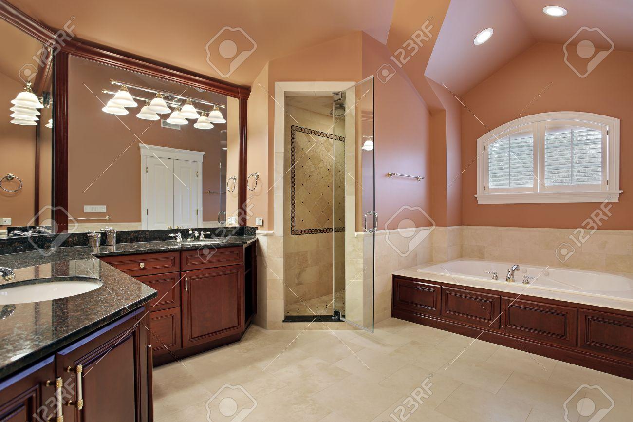 Master badkamer in luxe huis met zalm gekleurde muren royalty ...