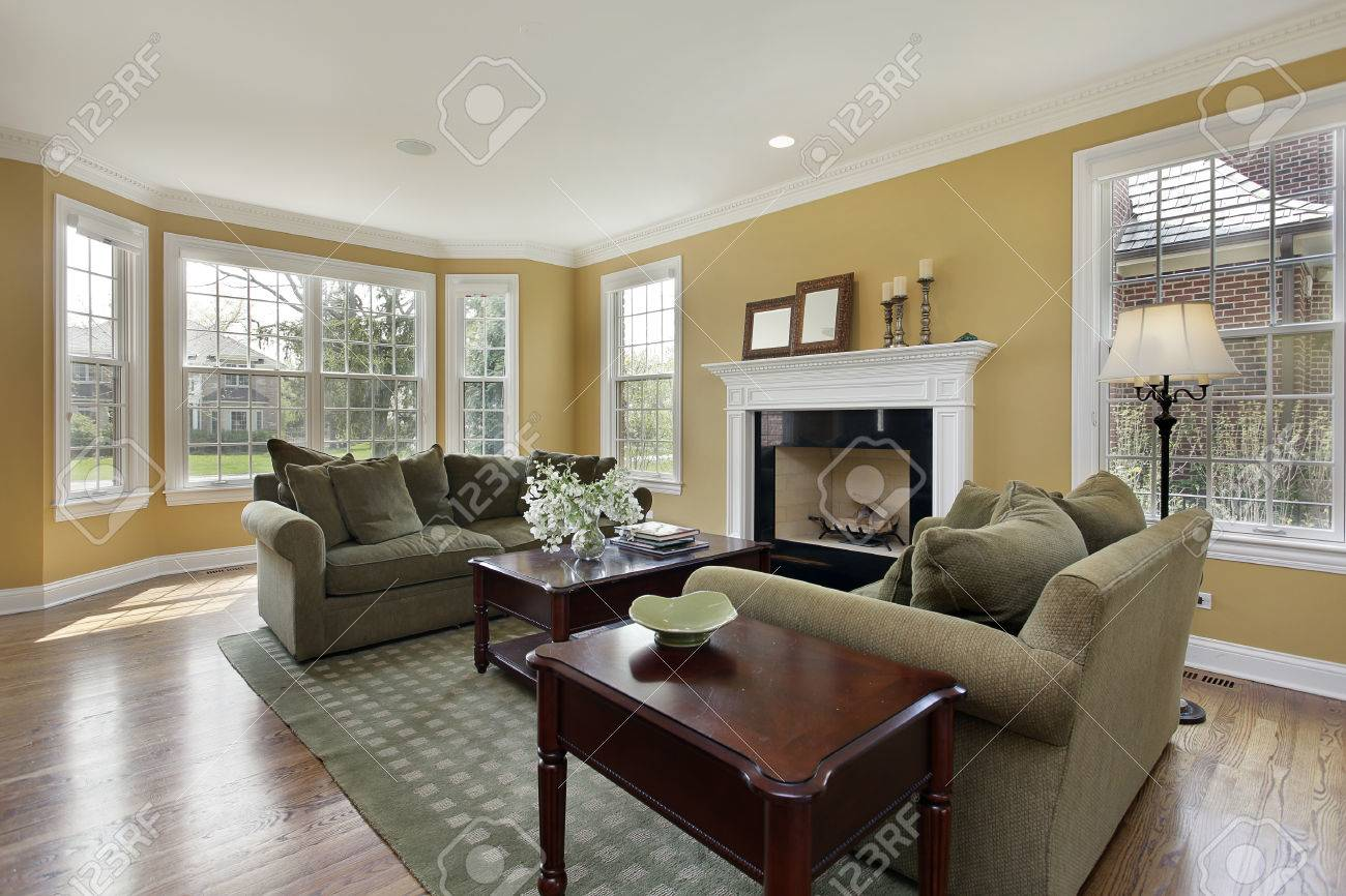 Living room in luxury home with fireplace - 33458671