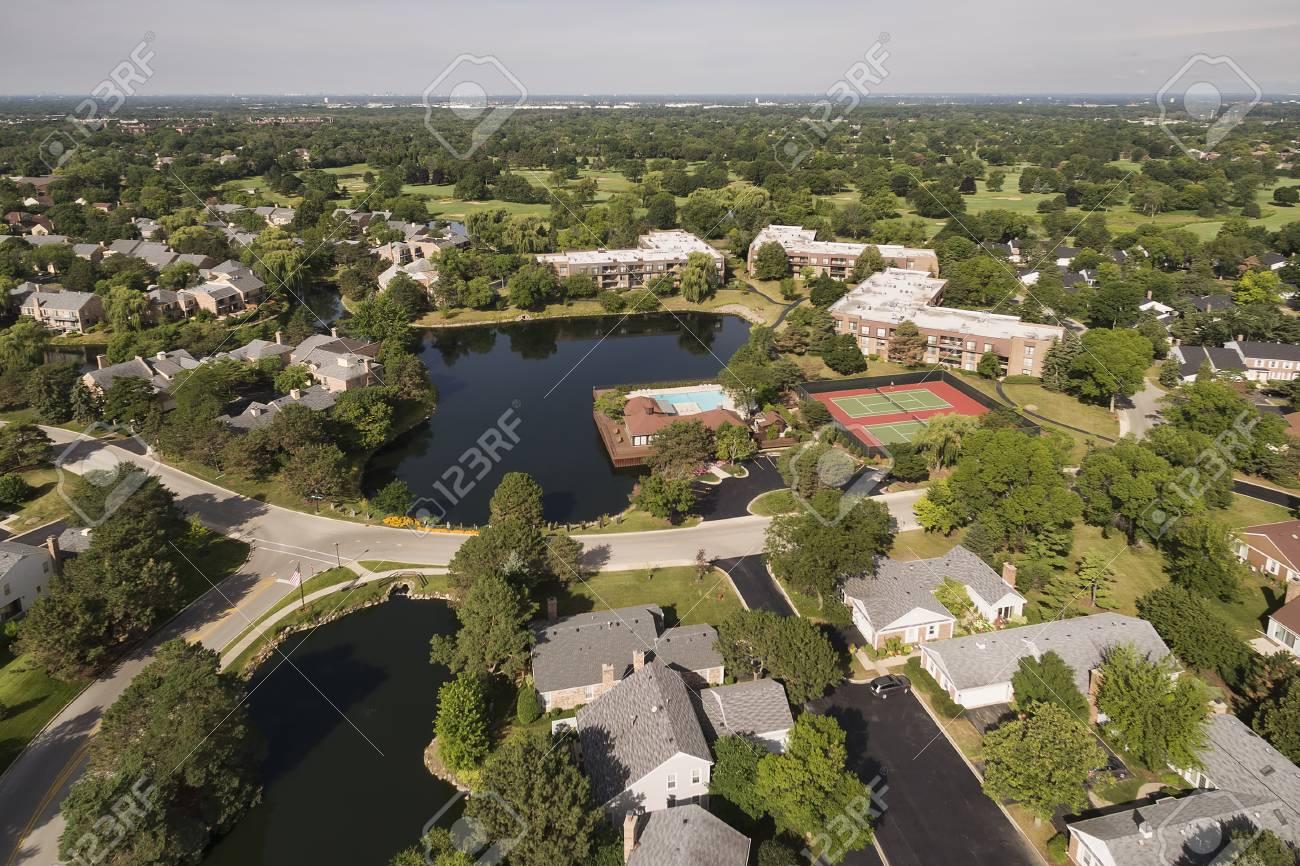 aerial view of suburban community stock photo 76409492