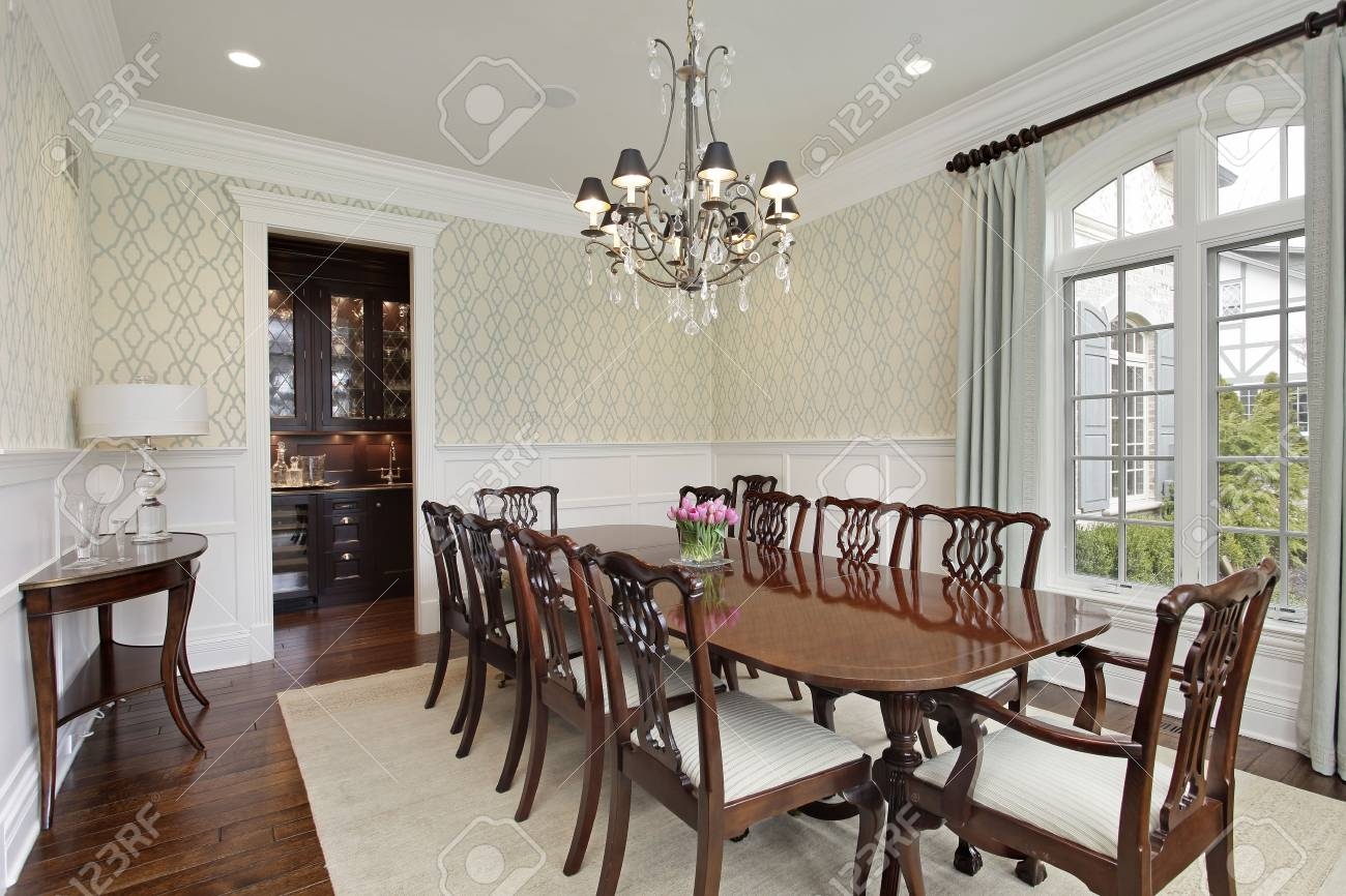 Dining Room In Luxury Home With Adjacent Bar Stock Photo Picture And Royalty Free Image Image 76409412