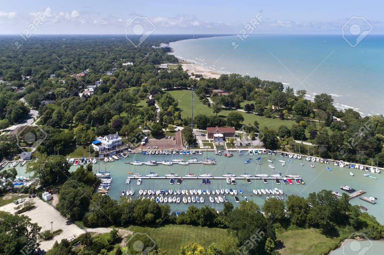 Aerial view of the Wilmette Harbor and the Lake Michigan shoreline