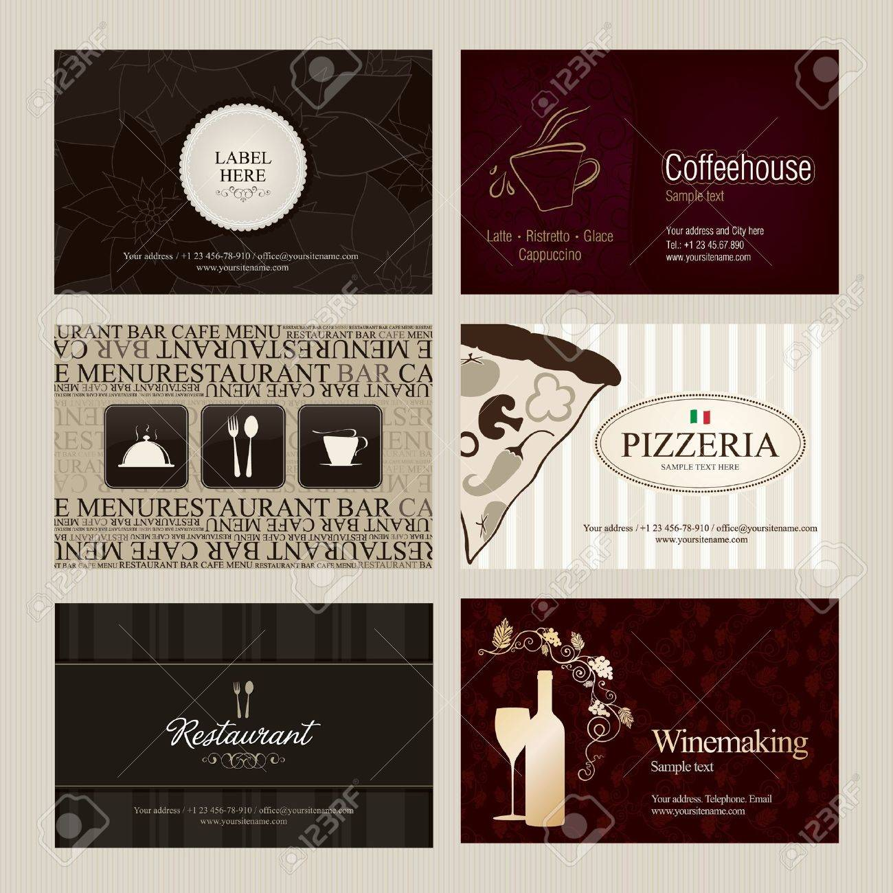 Set of 6 detailed vertical business cards for cafe and restaurant set of 6 detailed vertical business cards for cafe and restaurant stock vector 10940331 reheart Choice Image