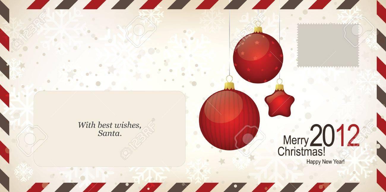 Air Mail Envelope, Christmas Design. C6-C5 Format Royalty Free ...