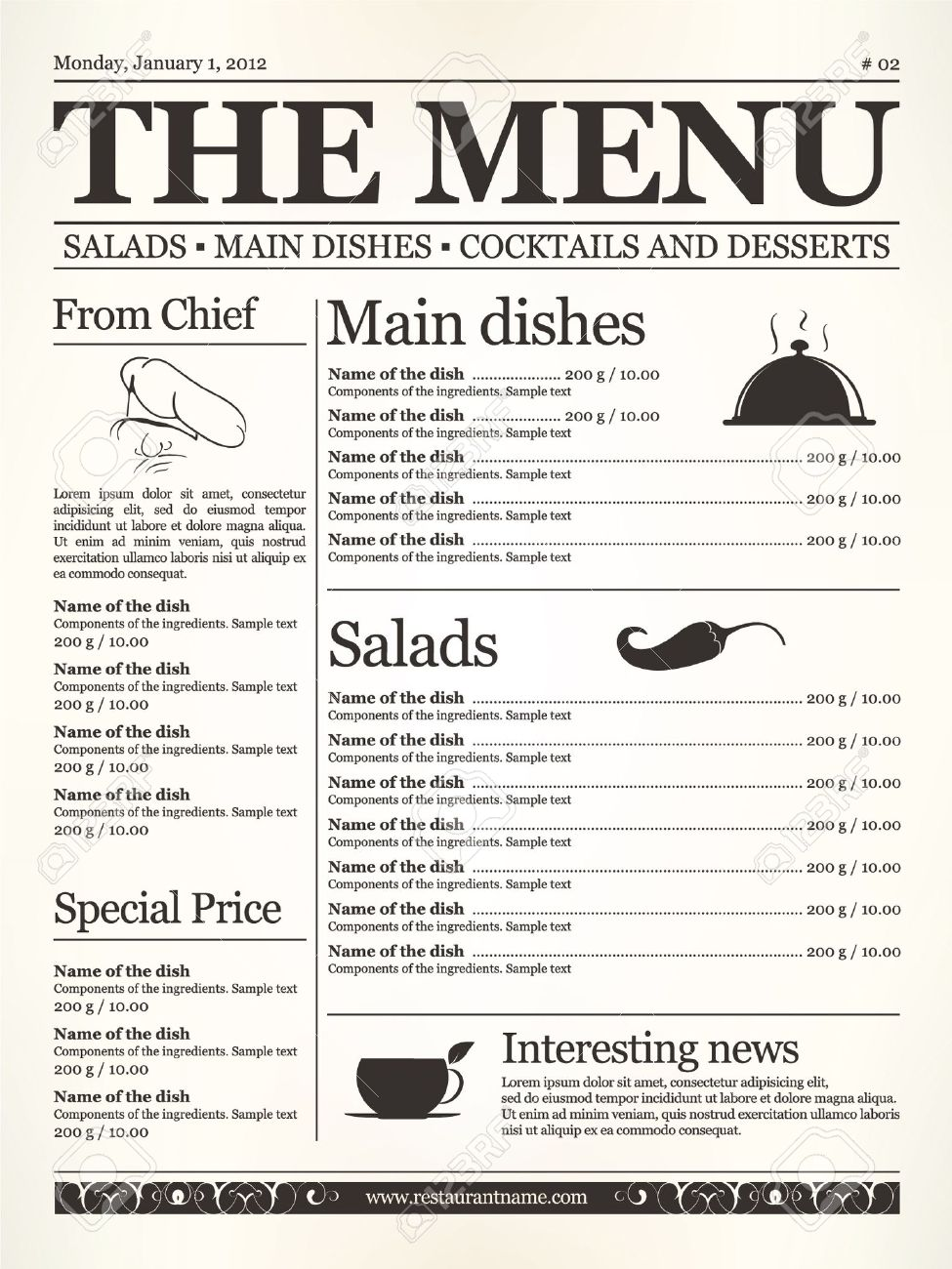 Restaurant Menu Design Concept Type Of Old Newspaper Royalty Free Cliparts Vectors And Stock Illustration Image 11539273