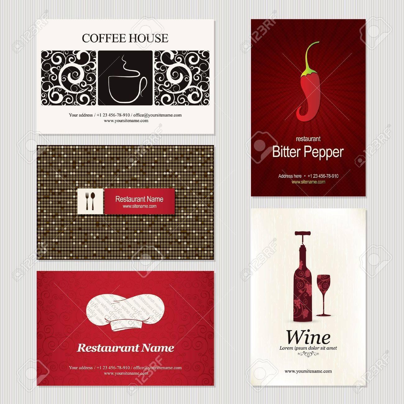 Set De 5 Detaillees Des Cartes Visite Pour Cafe Et Un Restaurant