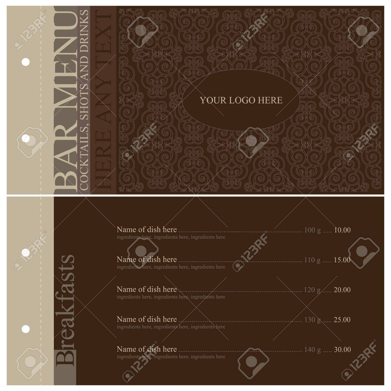 Vector. Vintage bar menu. Full design Stock Vector - 11659358