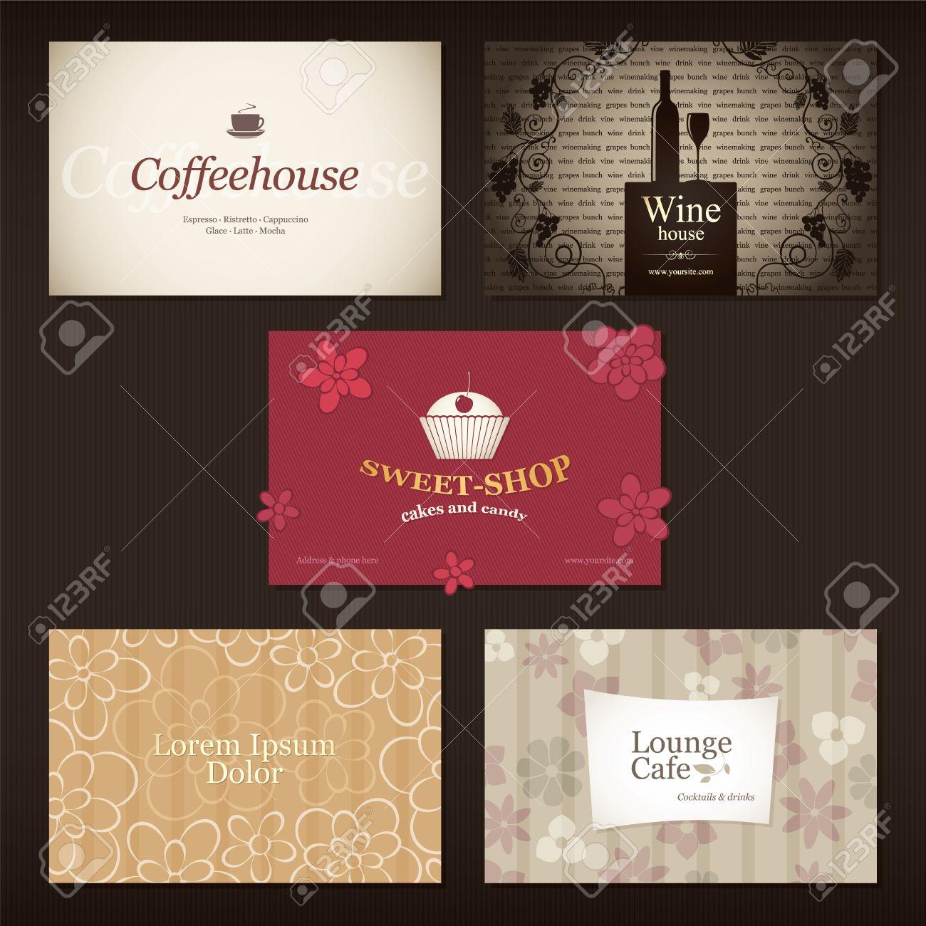 Lot De 5 Cartes Visite Dtailles Pour Caf Et Un Restaurant
