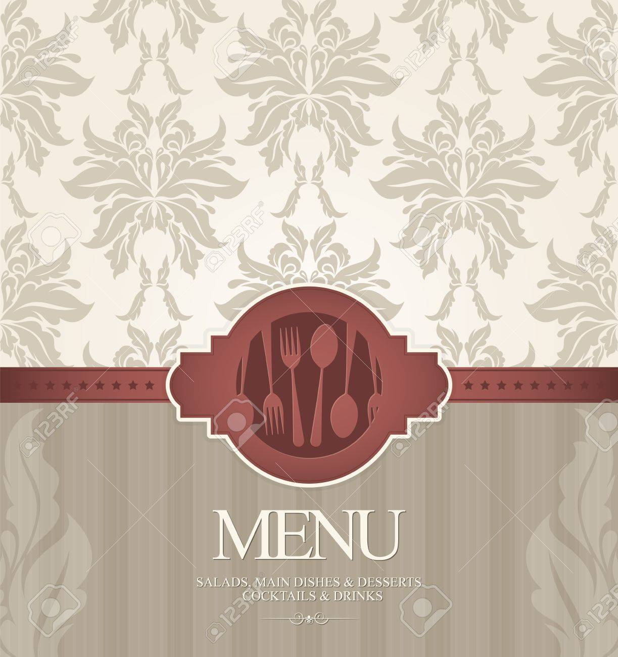 restaurant menu design, with seamless background royalty free