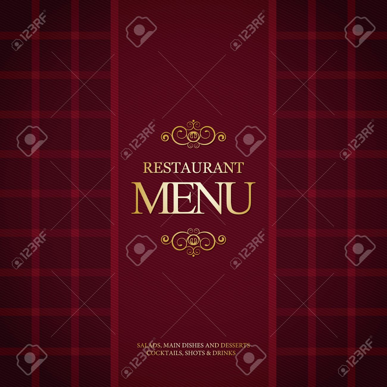restaurant menu design, with trendy plaid background royalty free