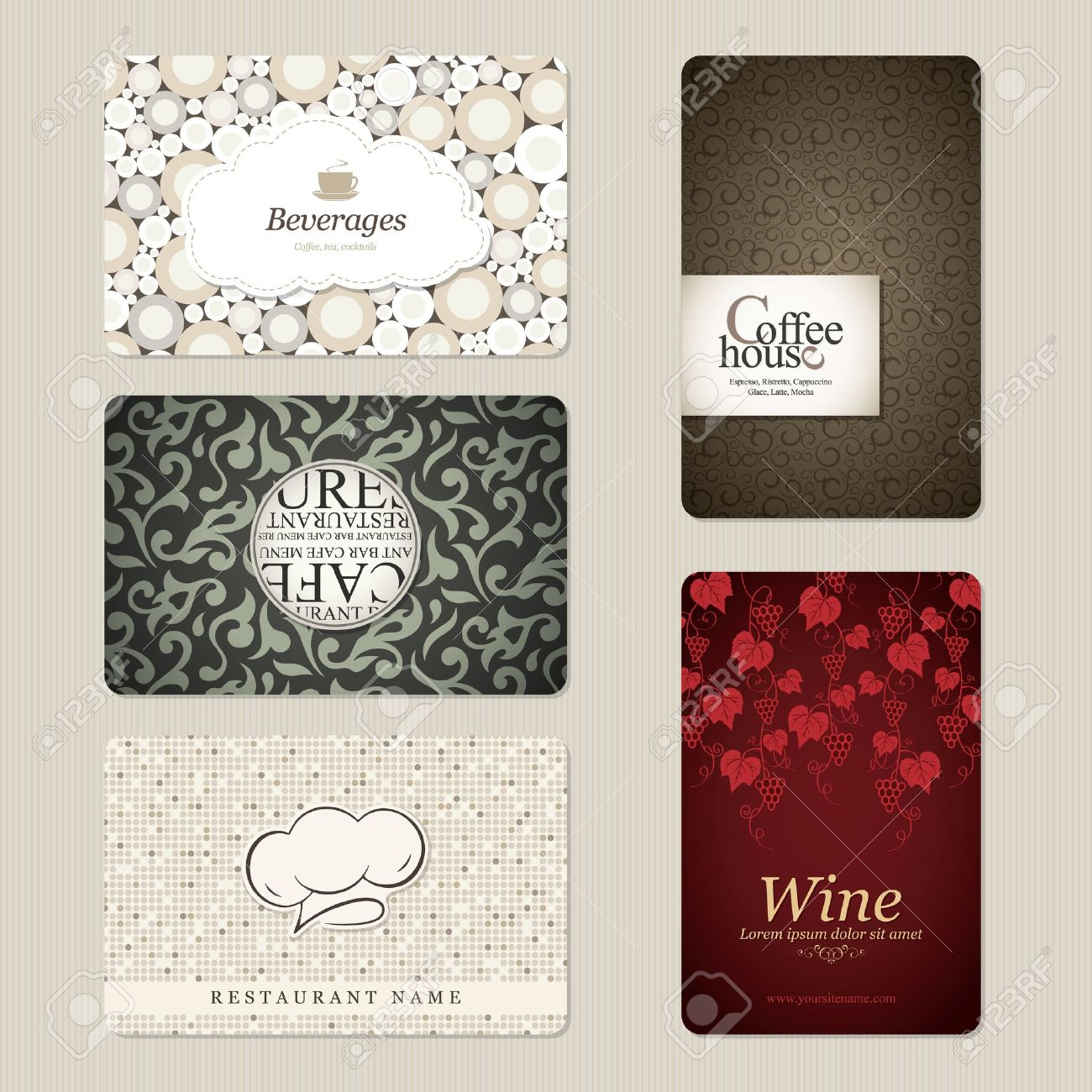 Set of 5 detailed business cards for cafe and restaurant royalty set of 5 detailed business cards for cafe and restaurant stock vector 12833974 reheart Images