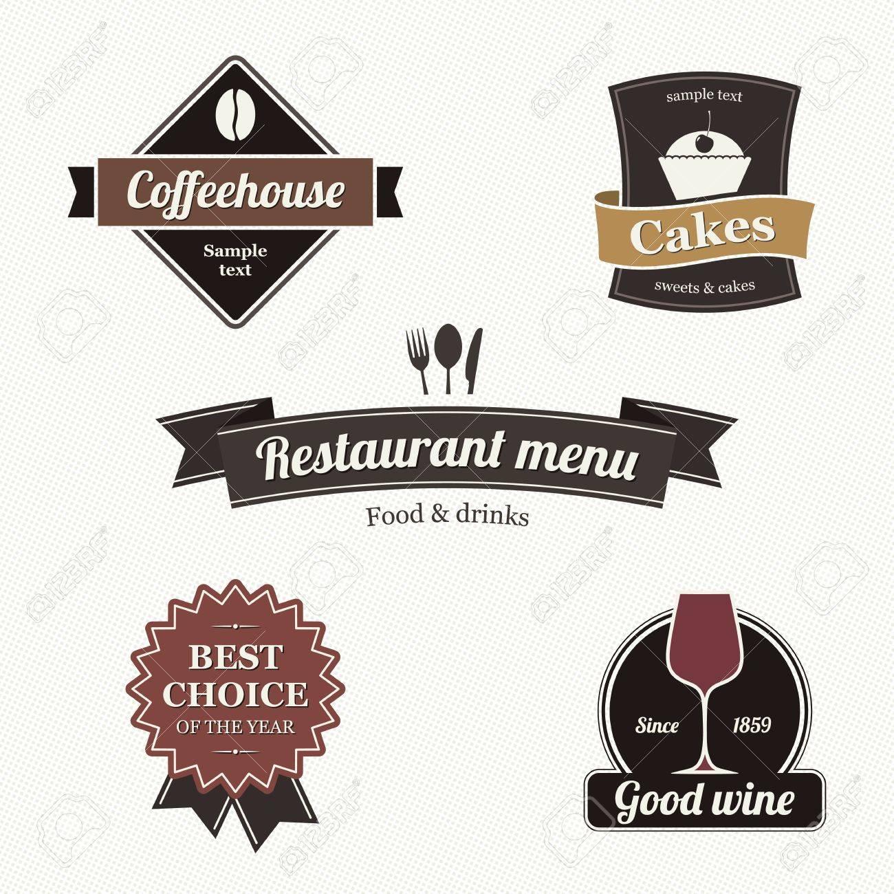 Set of restaurant labels Stock Vector - 13702203