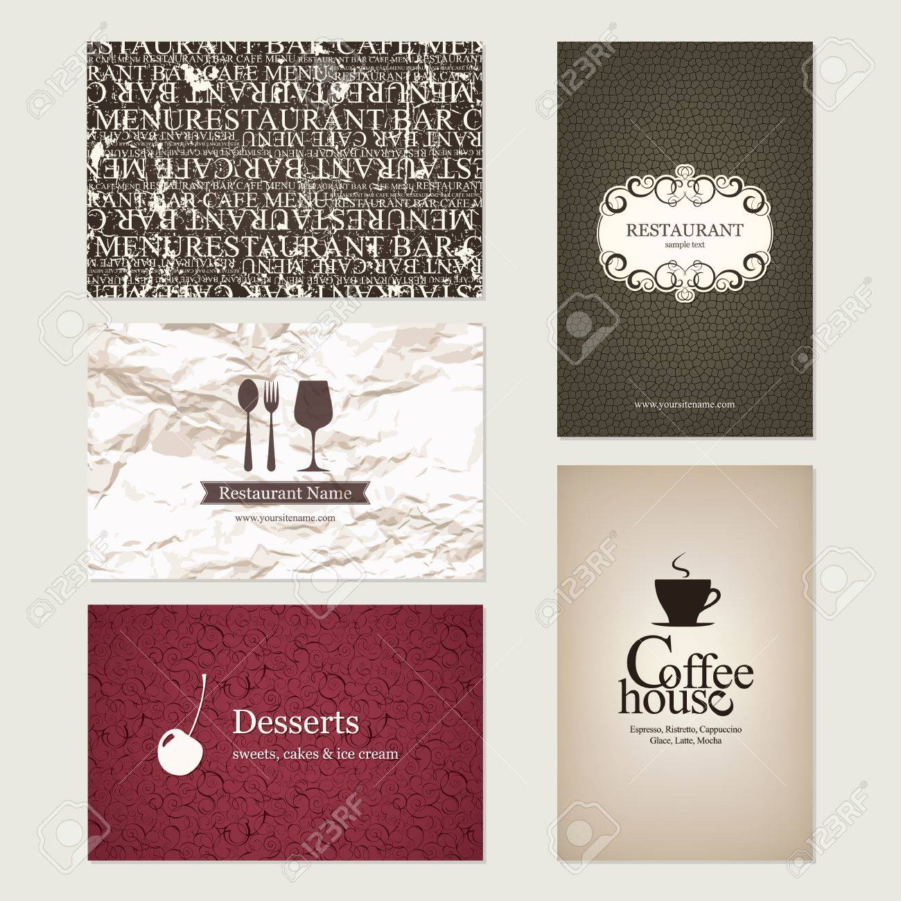 Set of 5 detailed business cards for cafe and restaurant royalty set of 5 detailed business cards for cafe and restaurant stock vector 14957886 colourmoves
