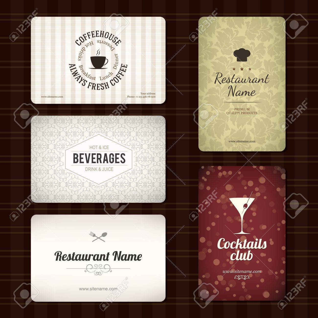 Set of 5 detailed business cards for cafe and restaurant royalty set of 5 detailed business cards for cafe and restaurant stock vector 16424737 colourmoves