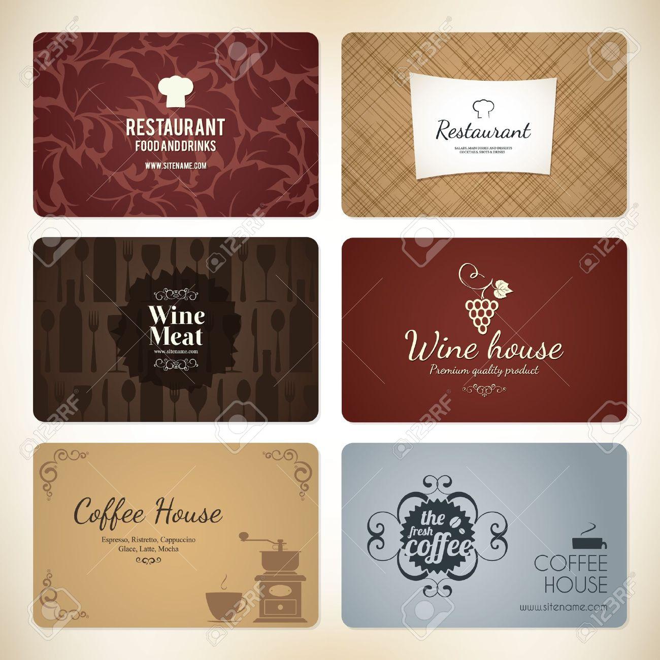 Set De 6 Cartes Visite Dtaills Pour Caf Et Un Restaurant Clip