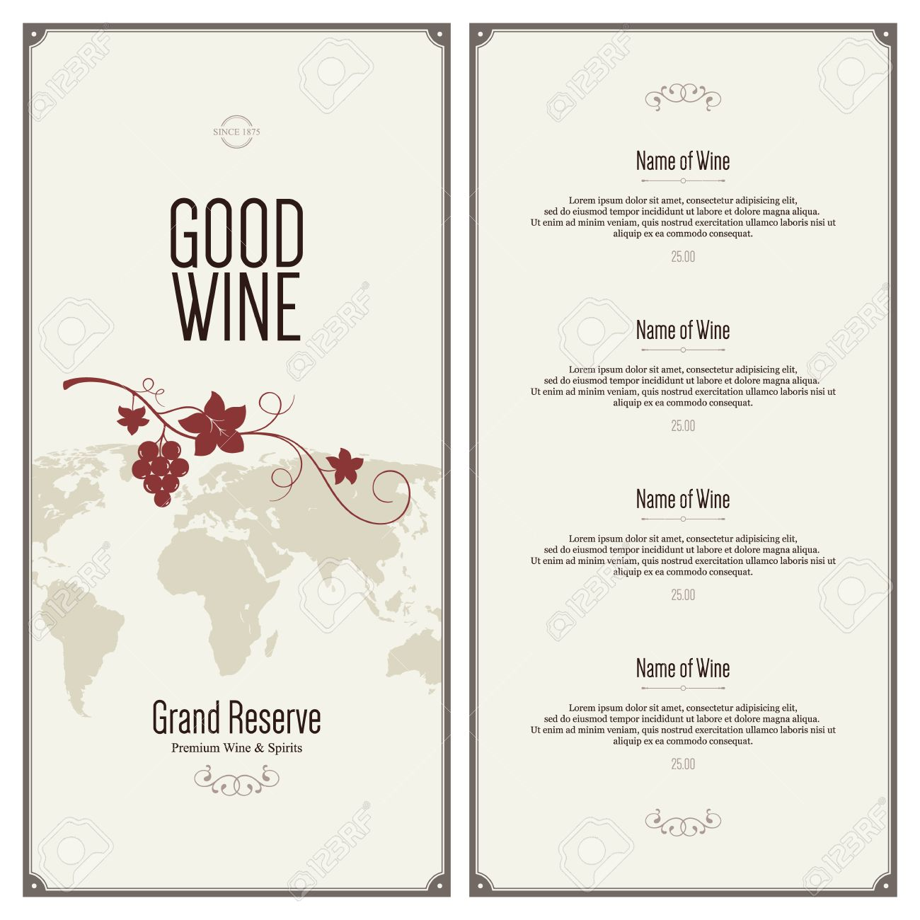 free wine list template download