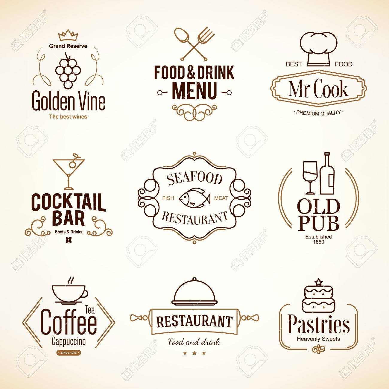Vintage and labels design. set for restaurant, cafe and coffee house - 37727514