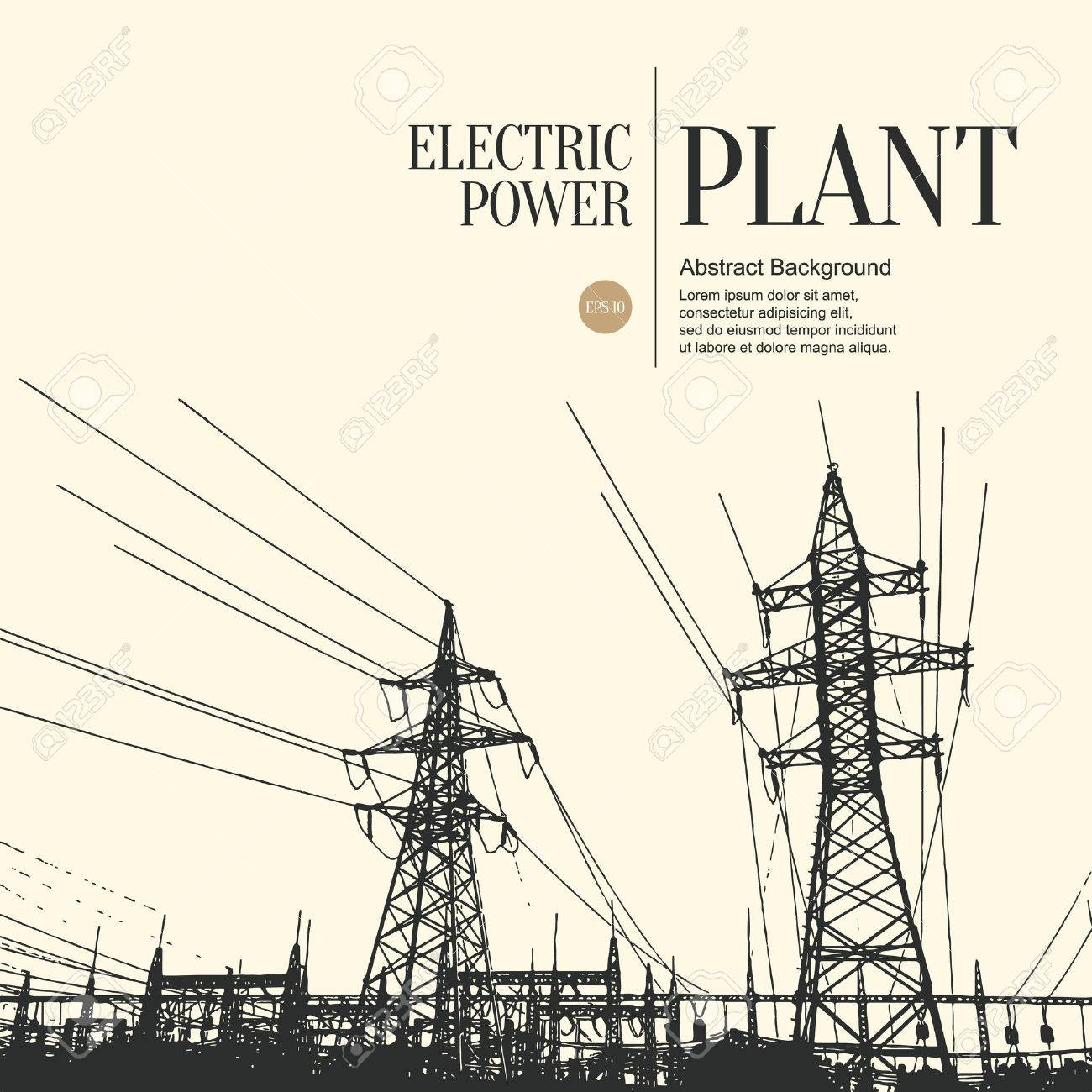 Abstract sketch stylized background  Electric power plant