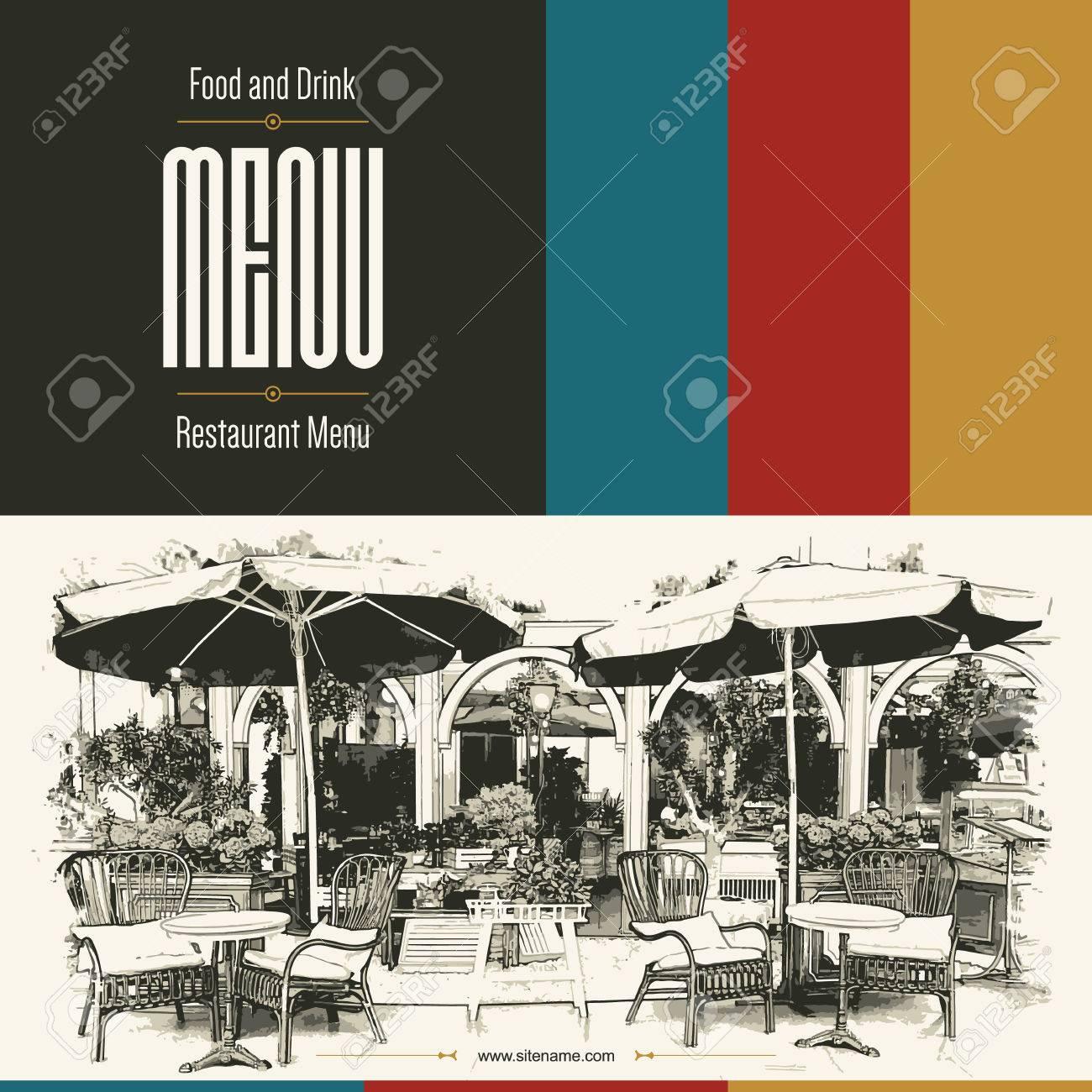 Retro restaurant menu design. With a sketch pictures - 43961264