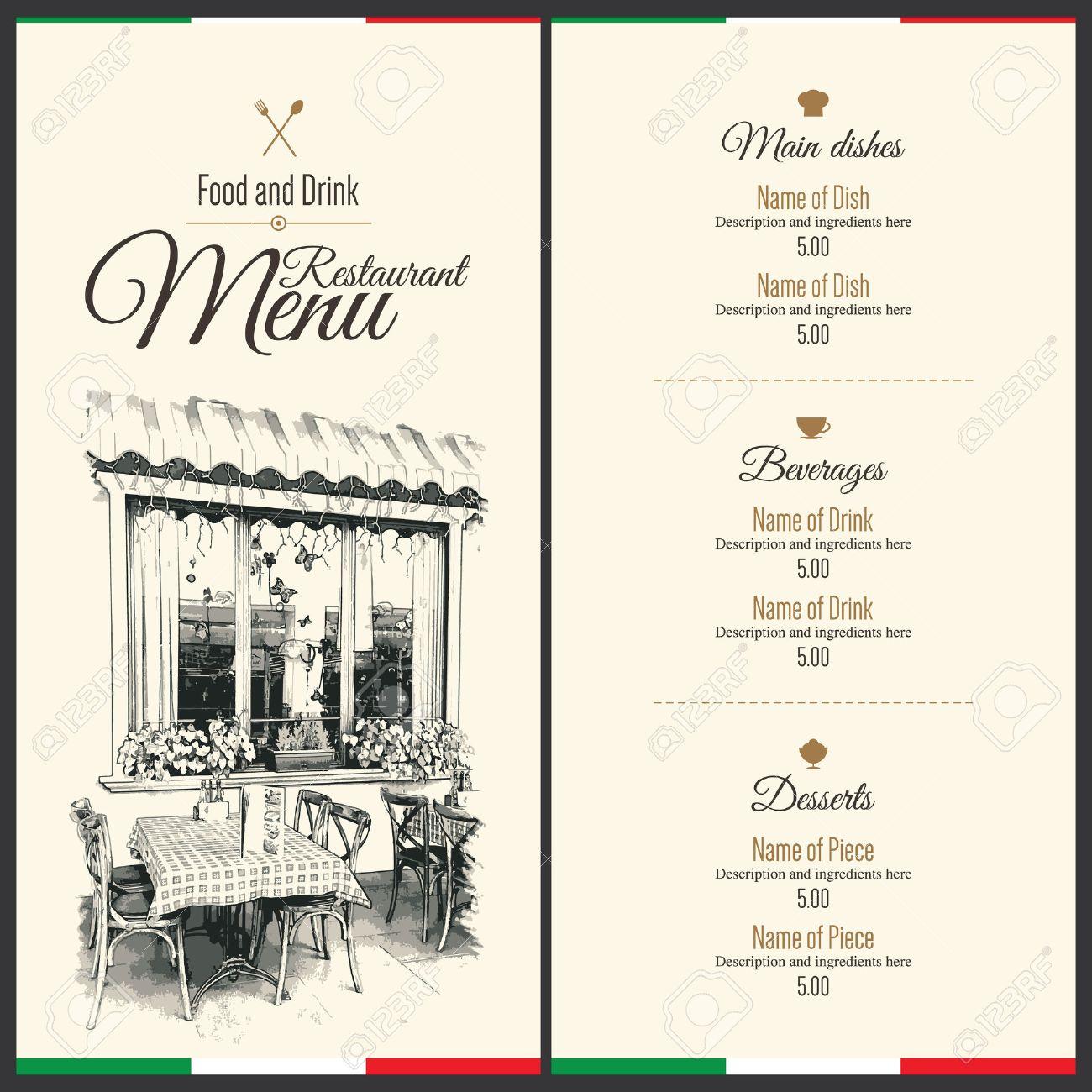 Retro restaurant menu design. With a sketch pictures - 43961375