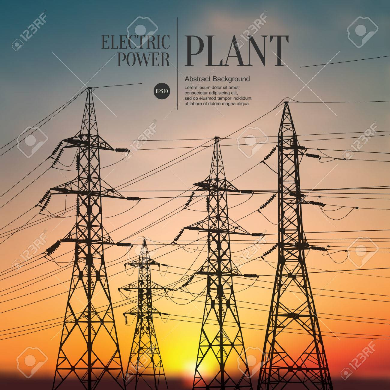 Abstract sketch stylized background. Electric power plant - 54504836
