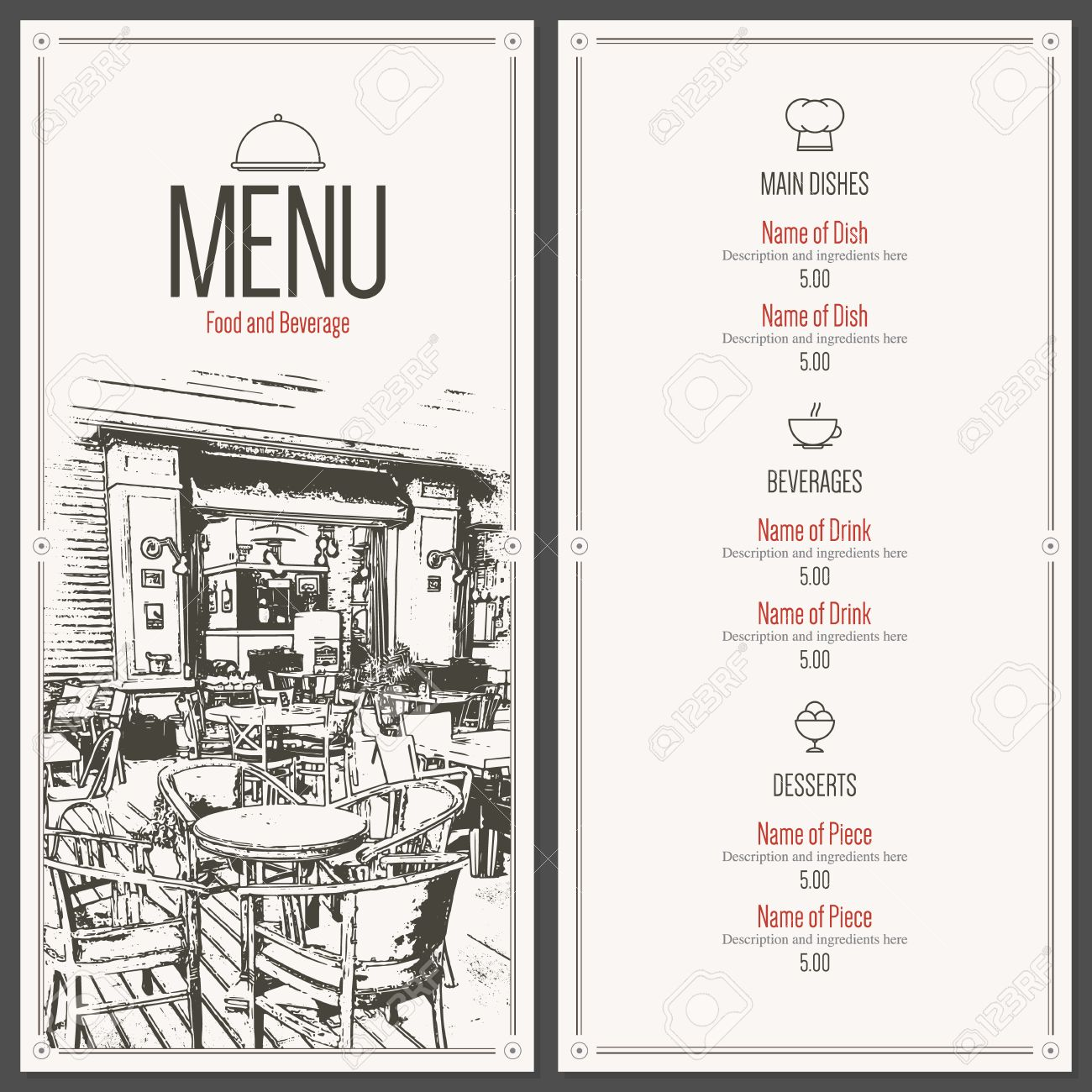 Retro Restaurant Menu Design With A Sketch Pictures Royalty Free Cliparts Vectors And Stock Illustration Image 54504839