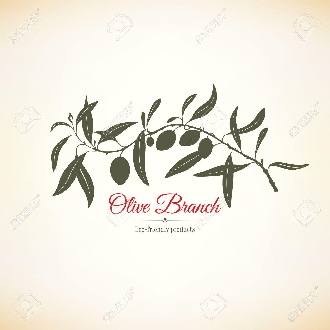 Olive label, logo design. Olive branch - 54504865