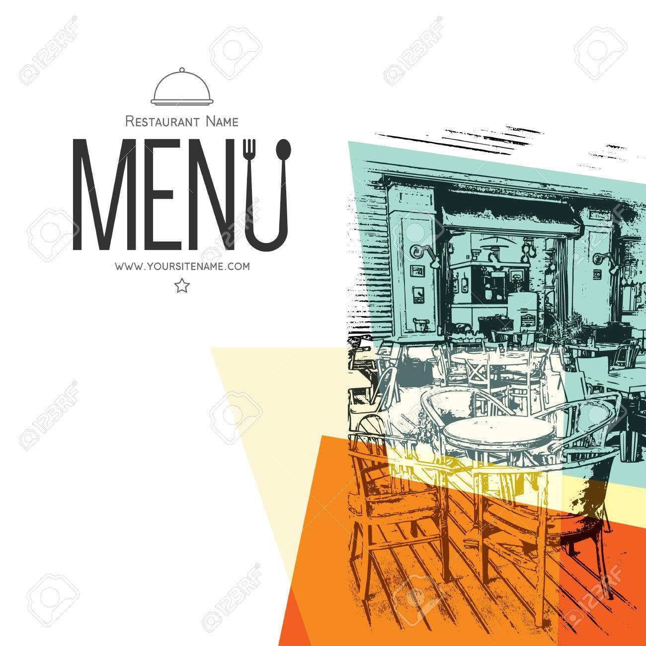 Retro restaurant menu design. With a sketch pictures - 54504882