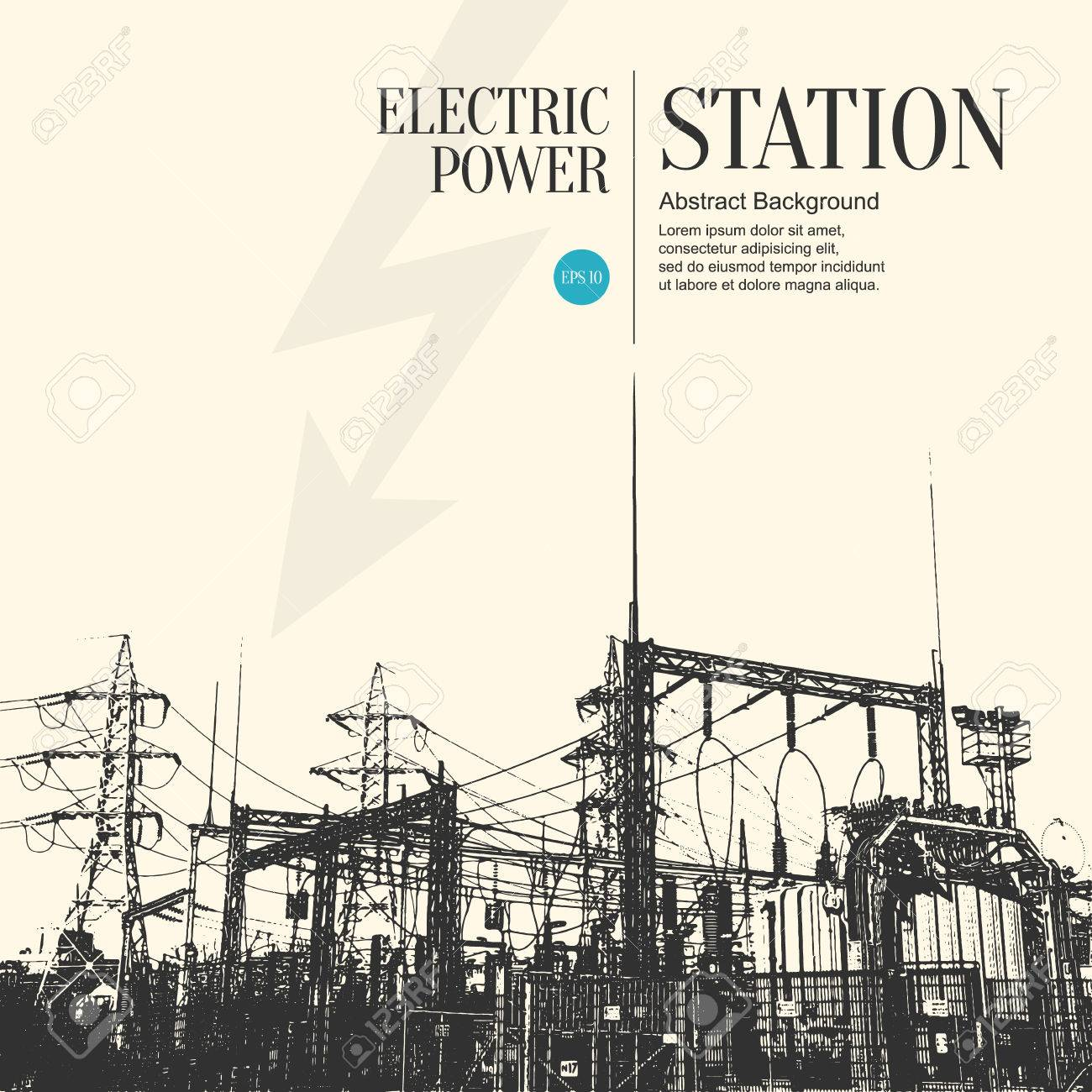 Abstract sketch stylized background. Electric power station - 54504916