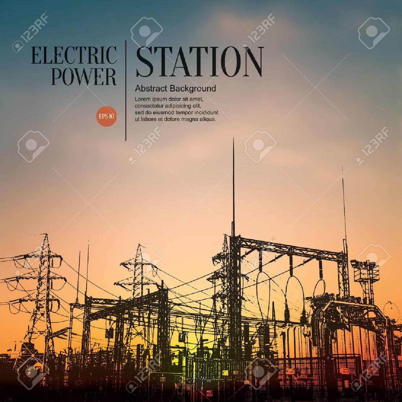 Abstract sketch stylized background. Electric power station - 54504951